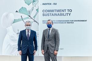 Pablo Isla, presidente de Inditex y Virginijus Sinkevicius, comisario de Medio Ambiente, Océanos y Pesca de la UE.