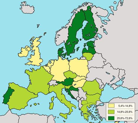Países UE por consumo energético con origen renovable.
