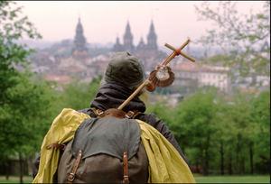 Peregrino en Santiago de Compostela.