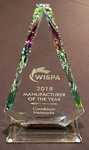 Cambium Networks galardonada con el premio Top Industry de WISPA