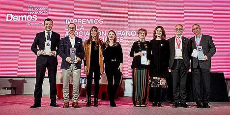 """María Entrecanales y Ana Varela, y las Fundaciones Alimerka, Entreculturas y """"la Caixa"""" reciben los IV Premios de la Asociación Española de Fundaciones"""