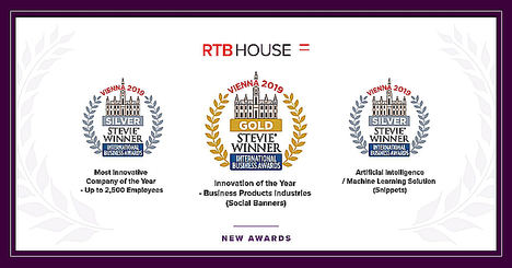 RTB House premiada con un oro y dos platas Stevie Awards de los International Business Awards 2019