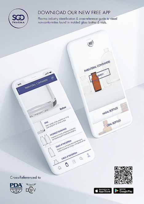 En la CPhI WW 2019, SGD Pharma lanzará la primera aplicación para identificar incumplimientos en botellas de vidrio moldeado destinadas a la industria farmacéutica