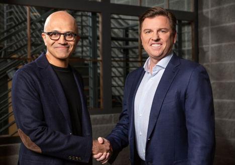 Satya Nadella, CEO de Microsoft y Tony Bates, CEO de Genesys.