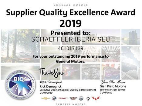 Schaeffler Iberia recibe el Supplier Award de General Motors