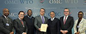 DG Azevêdo y los representantes de Burkina Faso, Liechtenstein, Nigeria, los Emiratos Árabes Unidos y Viet Nam, que han aceptado recientemente la enmienda del Acuerdo sobre los ADPIC.