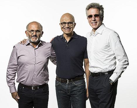 Shantanu Narayen, Satya Nadella y Bill McDermott.