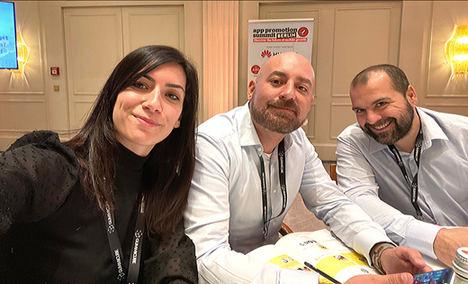 Silvia Justo, Antonio Sánchez y Jaume Cornadó, socios de ARKANA en el App Promotion Summit de Berlín.