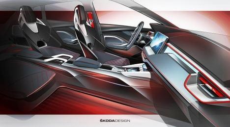 Primeros bocetos del interior del Skoda Vision RS