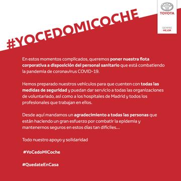 Toyota España se suma a #YoCedoMiCoche