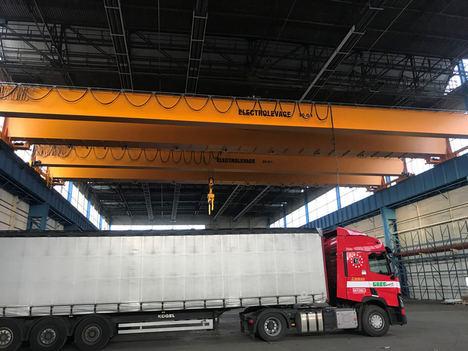 Se instala una séptima grúa puente Verlinde de 40 toneladas en los almacenes de Greg Transports en Bélgica