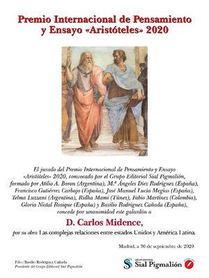 """D. Carlos Midence, Embajador de Nicaragua en España recibe el Premio Internacional de Pensamiento y Ensayo """"Aristóteles"""" 2020"""