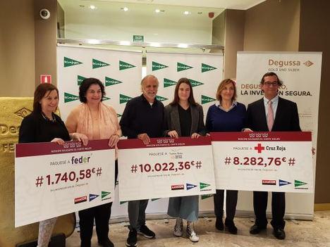 Degussa entrega 20.000 euros en oro físico de inversión a la Fundación Aladina, Cruz Roja y Feder