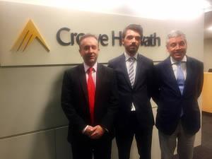 De izqda a dcha: Carlos Puig CEO de Crowe Horwath Spain, Julio Vilagrasa Director Oficina Lérida y Emilio Álvarez Socio y Responsable de Desarrollo de Negocio.