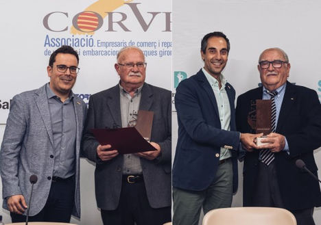 De izqda a dcha: Jordi Solà, presidente de CORVE; Lluís Rubió, fundador de Náutica Tossa SL; Joaquim Casas, vicepresidente de CORVE; Joan Vilà, fundador de Talleres Vila-4 de Banyoles.