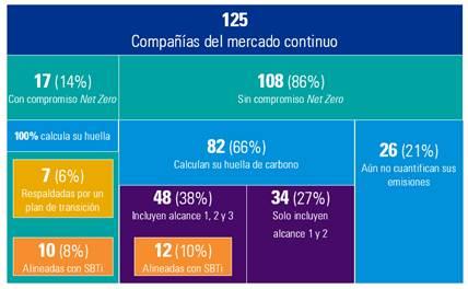 Sólo un 14% de las empresas del mercado continuo español tiene planes para alcanzar cero emisiones netas