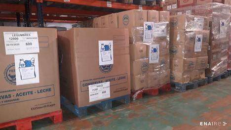 Los empleados de ENAIRE lanzan una campaña solidaria y consiguen más de 1.000 bolsas de alimentos para personas necesitadas