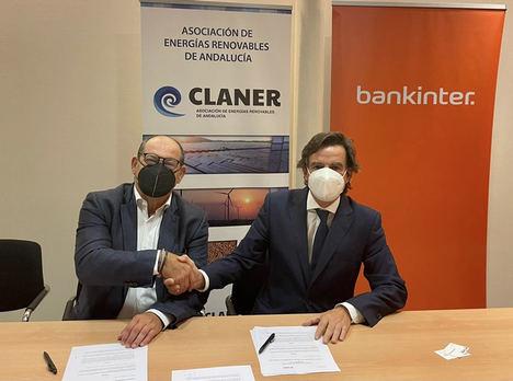 Bankinter y la Asociación de Energías Renovables de Andalucía firman un acuerdo para financiar proyectos de energías renovables en las entidades asociadas