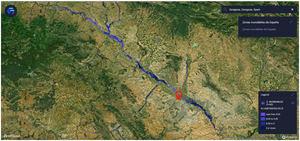 Captura de las zonas con más riesgo en la provincia de Zaragoza.