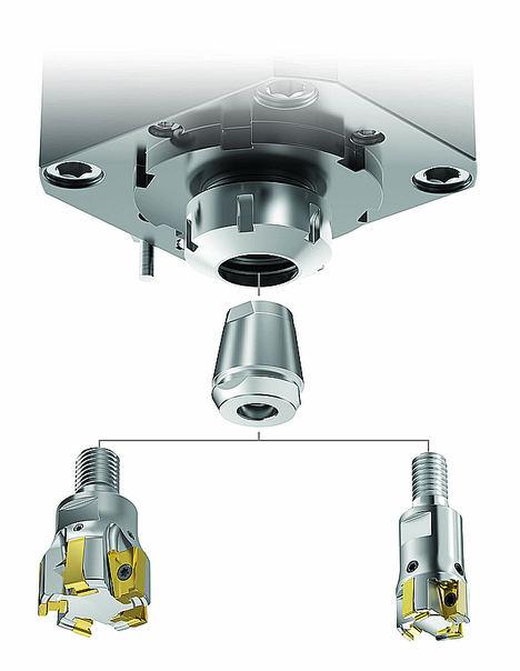 Conversión de un torno CNC en una fresadora mediante el uso de cualquier fresa de corte atornillada de pequeño diámetro en unidades motorizadas ER.