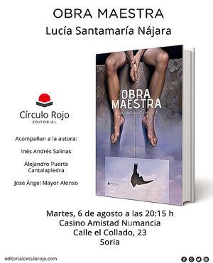 "Lucía Santamaría Nájara presenta su última novela ""OBRA MAESTRA"""