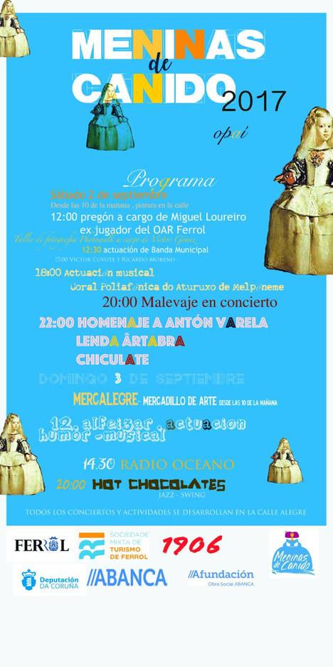 El evento de los artistas de las Meninas de Canido se celebra en Ferrol el 2 y 3 de septiembre