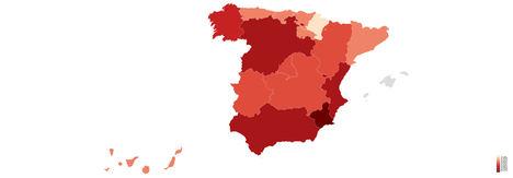 Índice de riesgo por ciberamenazas avanzadas según regiones en España.