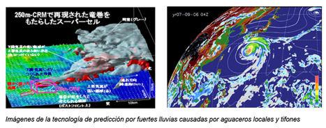 Imágenes de la tecnología de predicción por fuertes lluvias causadas por aguaceros locales y tifones.