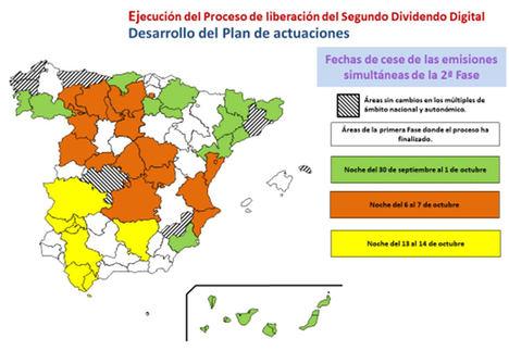 Áreas geográficas establecidas en el Plan Técnico Nacional de la Televisión Digital Terrestre, aprobado por el Real Decreto 391/2019, de 21 de junio, y fechas de cese de emisiones de algunos canales en sus antiguas frecuencias de la TDT.
