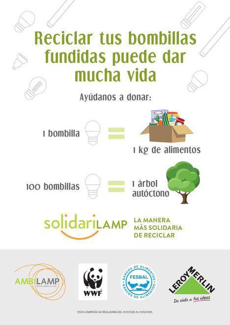 Leroy Merlin y Ambilamp donarán más de 68.000 kilogramos de comida y plantaran árboles autóctonos gracias a la campaña Solidarilamp