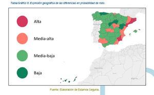 En Murcia es un 46% más probable sufrir un robo en el hogar que en el resto de España