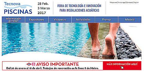 Tecnova Piscinas 2017 presenta las mejores novedades tecnológicas para instalaciones acuáticas