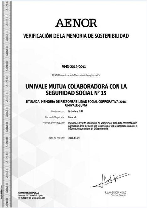 AENOR certifica por octavo año consecutivo la Memoria de Responsabilidad Social Corporativa de umivale